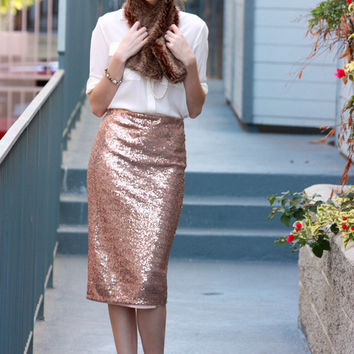 Dorothy Perkins Rose Gold Sequin Midi Skirt