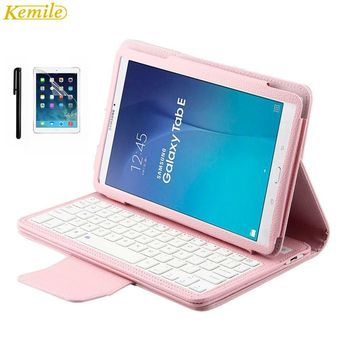 Kemile Removable Wireless Bluetooth Keyboard Portfolio Leather Stand Case Cover for Samsung Galaxy Tab E 9.6 T560 T561 T565