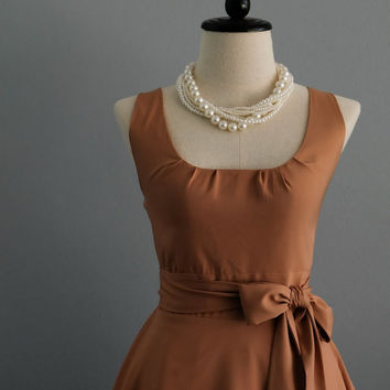 My Lady Ice Coffee Dress Spring Summer Dress Coffee Brown Party Dress Brown Party Tea Dress Bridesmaid Dress Vintage Design Dress XS-XL