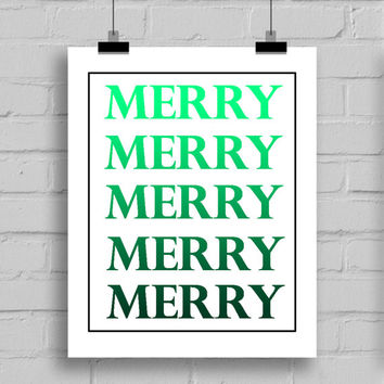 Merry Christmas Gradient Set of Two Prints, Christmas Decorations, Digital Download, PDF/JPG, (8x10 Inches)
