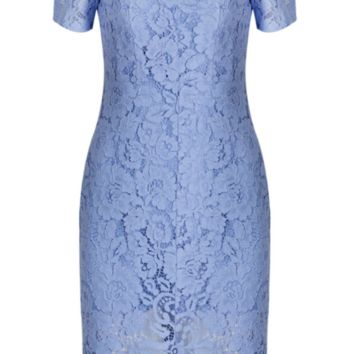 'Massima' Lace Dress - Blue