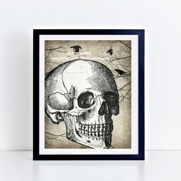 Gothic Printable Art, Day of the Dead Printable, Dia De Los Muertos Poster, Halloween Decor, Day of the Dead Wall Art, Raven Print, Skull