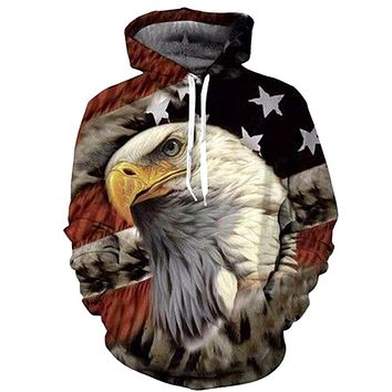 American Flag Eagle All Over Print Hoodie - Men's Hoodie Sweatshirt