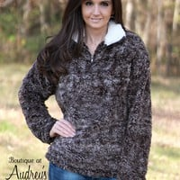 Dark Brown Sherpa Pullover with White Collar