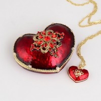 Jeweled Heart Trinket Box with Pendant