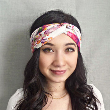 Turban Headband , Jersey Headband, Floral Print,Bohemian Hair Accessories