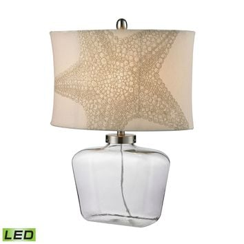Clear Glass Bottle LED Table Lamp in Polished Nickel Clear