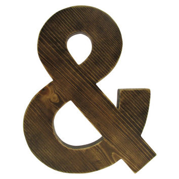 Ampersand shown in Kona Brown Stain Pine Wood Sign Wall Decor Rustic Chic Wedding guest book  Engagement Photo Prop Nursery Kids Decor
