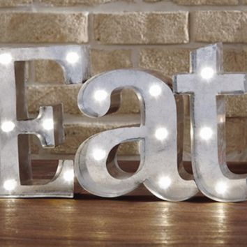 EAT - Illuminated Marquee Word Sign - Metal 16-in x 9-in