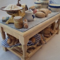 DOLLS HOUSE MINIATURES - Bread for thought Preparation Table