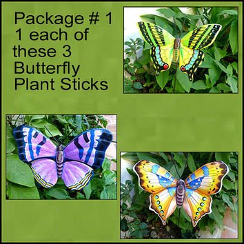Butterfly Metal Plant Stakes -  Metal Plant Marker, Outdoor Garden Decor -Plant Stick, Haitian art, Yard Art. Garden Markers - PS-PKG-1