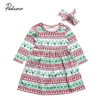 Toddler Kid Baby Girl Dress Christmas Costume Long Sleeve Tutu Dresses Headband Children Girls Clothing Autumn Outfit 2PCs