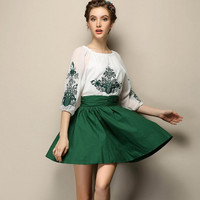 Block Porcelain Embroidered Sleeve A-Line Dress