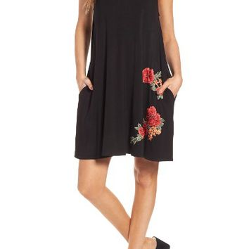Socialite Floral Appliqué Tank Dress | Nordstrom