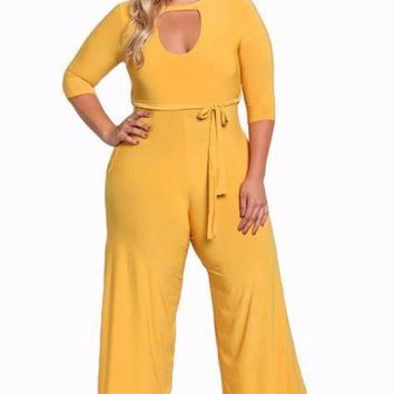 ONETOW Womens plus size cut out wide legged jumpsuit big ladies  overalls