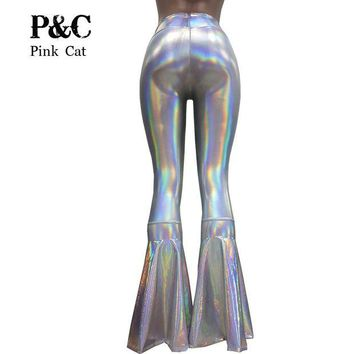 DCCKU62 vintage Leggings Clothing Women Silver Holographic Flare Bell Bottom Pants  Leggings Rave Festival Clothes Outfits