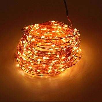 High Quanlity 12V 30M 98.4ft 300 Leds Copper Wire LED String Light Starry Lights WarmWhite White Yellow + US EU UK Power Adapter