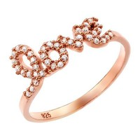Rose Gold Plated Love Cz Ring, Size 8