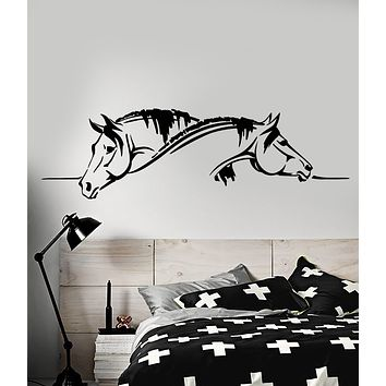Vinyl Wall Decal Two Horses Heads Love Pets Romantic Stickers (3457ig)