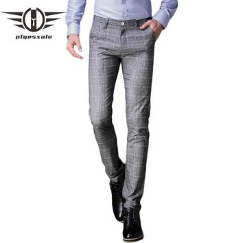 Plaid Pants Men Slim Fit Men Casual Pants Straight Design Fashion Gray Business Formal Dress Trousers