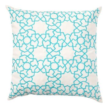 Outdoor Astrid Trellis Embroidered Pillow