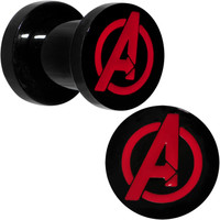 2 Gauge Black PVD Licensed Avengers Logo Screw Fit Plug Set | Body Candy Body Jewelry