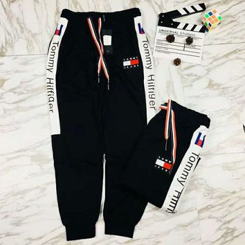 TOMMY Hilfiger New fashion embroidery letter print couple pants trousers Black
