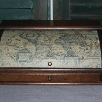 Vintage scroll top map wood valet, jewelry box, desk organizer, office decor, catchall, trinket box