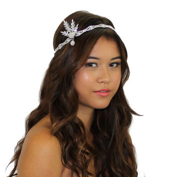 1920's Great Gatsby Inspired Silver leaf medallion pearl headpiece headband
