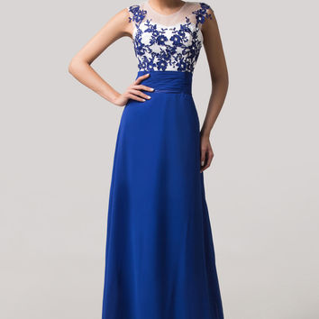 Blue Beaded Lace Mesh Sleeveless Cutout Maxi Evening Dress