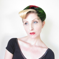 1950's French Hat, VINTAGE Fascinator, Feather, PINUP, velvet, Red, Green, BOMBSHELL