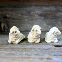 3 chalkware sheep figurines // plaster lamb nativity animal farm ewe