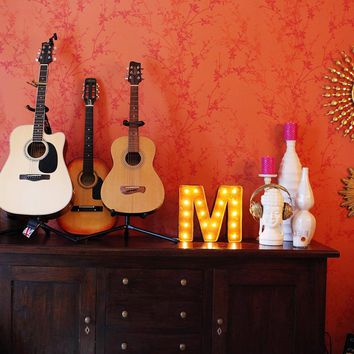 """12"""" Small Letter M Lighted Vintage Marquee Letters (Rustic)"""