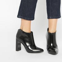 Lost | Lost Ink Black Block Heel Ankle Boots at ASOS