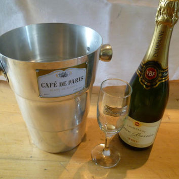 French Vintage Champagne ice Bucket Cafe De Paris by joiedefrance