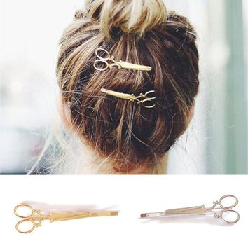 1 Pair Fashion Womens Hair Pin Hairclips Punk Smooth Scissors Hairpins Barrettes Cabelo Hair Jewelry Accessories