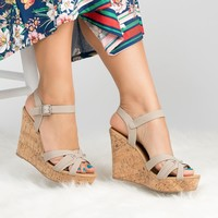 Ankle Strap Stone Wedges Sandals