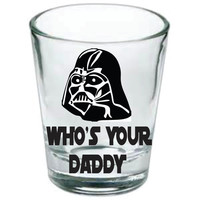 Star wars, Darth Vader, who's your daddy, shot glasses, drinking, greenery, vodka, Luke Skywalker, dark side, funny, gift, Princess Leia