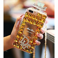 Dior Fashionable Women Luxury Crystal Perfume Bottles Mobile Phone Cover Case For iphone 6 6s 6plus 6s-plus 7 7plus 8 8plus X Yellow