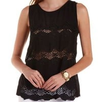 Embroidered Cut-Out Tank Top by Charlotte Russe