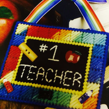 Teacher ornament decoration plastic canvas