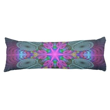 Mandala From Center Colorful Fractal Art With Pink Body Pillow