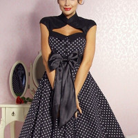 Vintage 1950s 1960s Swing Rockabilly Black White Polka Dot Evening Party Dress r1019