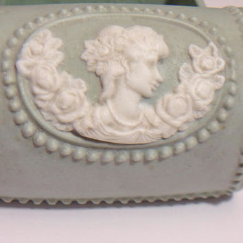 Green Wedgwood Jasperware Trinket Box Vintage Cameo Jewelry Box Collectible Porcelain England