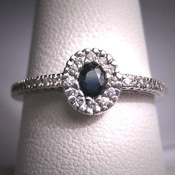 Vintage Sapphire Diamond Wedding Ring Art Deco Wht Gold