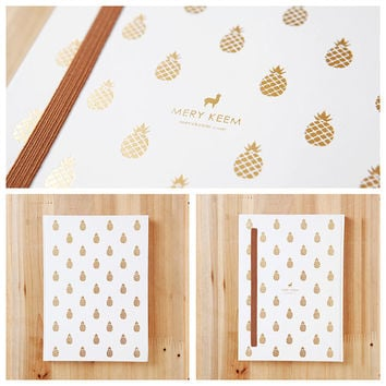 FREE SHIPPING - Pineapple Gold Foil Journal/Notebook in White Background