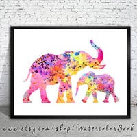 Mom and Baby Elephant Watercolor Print, Fine Art Print, Children's Wall Art, animal watercolor, watercolor painting, elephant watercolor
