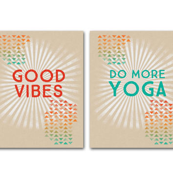 Retro Inspirational Poster Yoga Good Vibes Art Print Do More Yoga Good Vibes Digital Art Print Yoga Studio Decor Yoga Mindful Positive