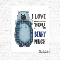 Bear Nursery art I love you beary much Boys bedroom quote Navy blue Nursery wall art Watercolor Blue bear tribal Arrow print Bear printable