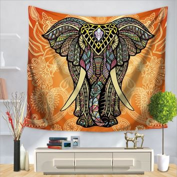 Home Decor Wall Hanging Painted elephant Tapestry Colorful Fabric Throw Door Curtain Bedspread home decoration accessories